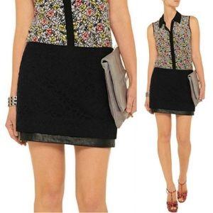 Diane Von Furstenberg DVF Elley Leather Lace Skirt